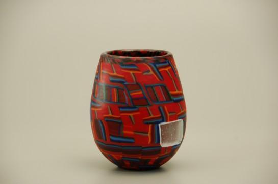 Stulet kärl av glas nr. 60/100M. 14 cm högh x 12 cm diameter
